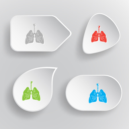 inhaling: Lungs. White flat vector buttons on gray background. Illustration
