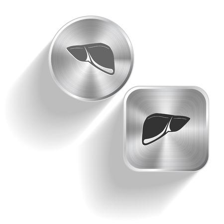 Liver. Vector set steel buttons Stock Vector - 27346501