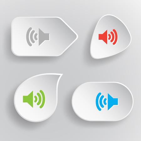 sonic: Speaker. White flat vector buttons on gray background.