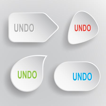 Undo. White flat vector buttons on gray background. Ilustração