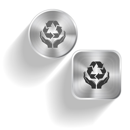 Protection nature. Vector set steel buttons Vector