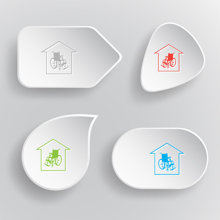 seniorenheim: Pflegeheim. Wei� Flach Vektor-Tasten auf grauem Hintergrund. Illustration