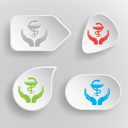 snake origami: health in hands. White flat vector buttons on gray background. Illustration
