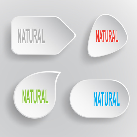Natural. White flat vector buttons on gray background. Vector