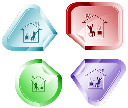 hamose: Home watching TV. Vector sticker. Illustration