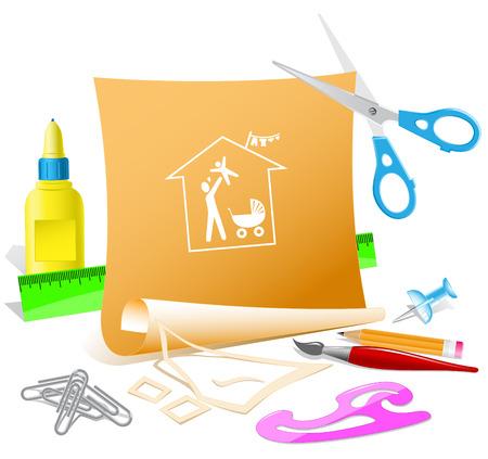 pva: Family home. Paper template. Raster illustration.