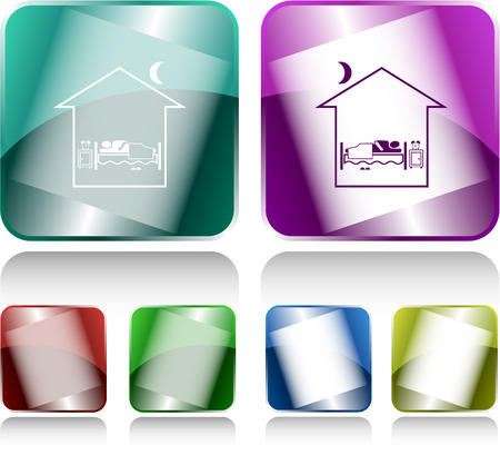 Home bedroom. Internet buttons. Raster illustration. Vector