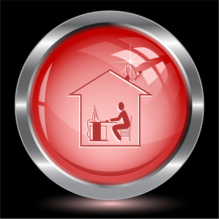 push room: Home work. Internet button. Vector illustration. Illustration