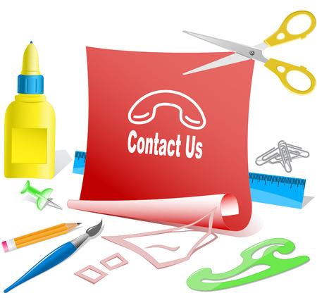 pva: Contact us. Paper template. Raster illustration. Illustration