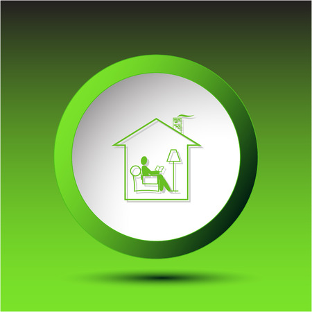 incurved: Home reading. Plastic button. Vector illustration. Illustration