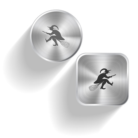 enchantress: Witch. Vector set steel buttons