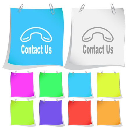 contact sheet: Contact us. Vector note papers. Illustration