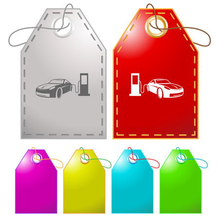 fueling: Car fueling. Vector tags. Illustration
