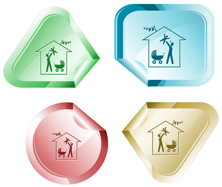 declinate: Family home. Vector sticker.