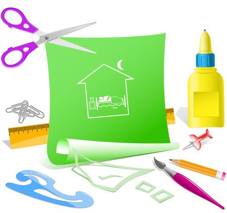 pva: Home bedroom. Paper template. Raster illustration.