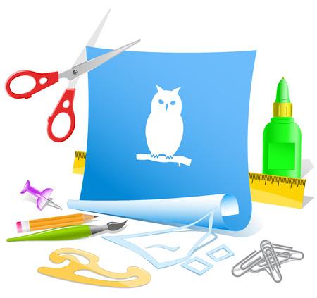 pva: Owl. Paper template. Raster illustration.