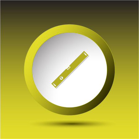 incurved: Spirit level. Plastic button. Vector illustration.
