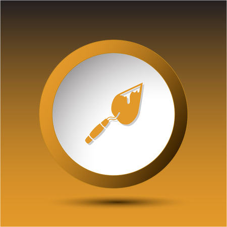 incurved: Trowel. Plastic button. Vector illustration.