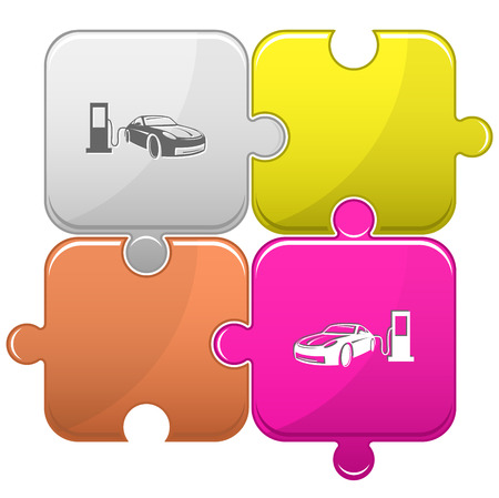 fueling: Car fueling. Vector puzzle.