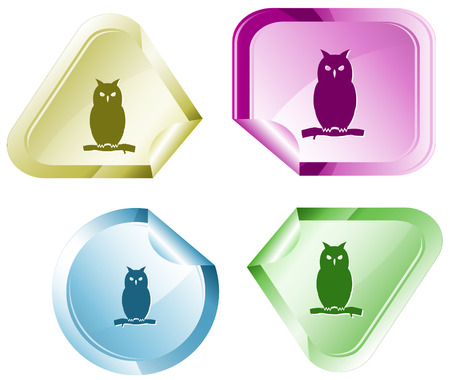 declinate: Owl. Vector sticker. Illustration