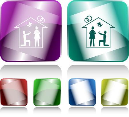 internet buttons: Home affiance. Internet buttons. Vector illustration.