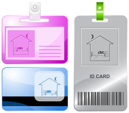 Home bedroom. Vector id cards. Vector