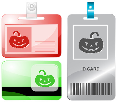 Pumpkin. Vector id cards. Vector