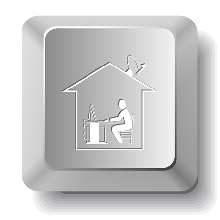 work from home: Home work. Vector computer key. Illustration