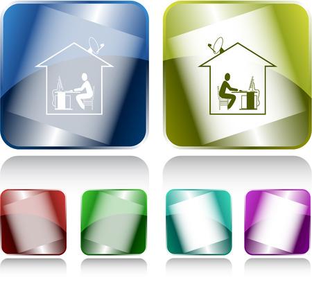 Home work. Internet buttons. Vector illustration. Vector