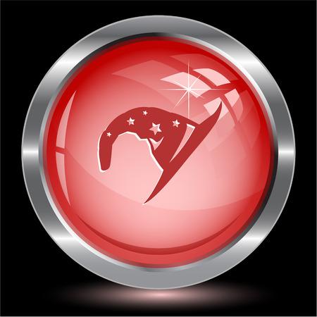 Astrologer's hat. Internet button. Vector illustration.