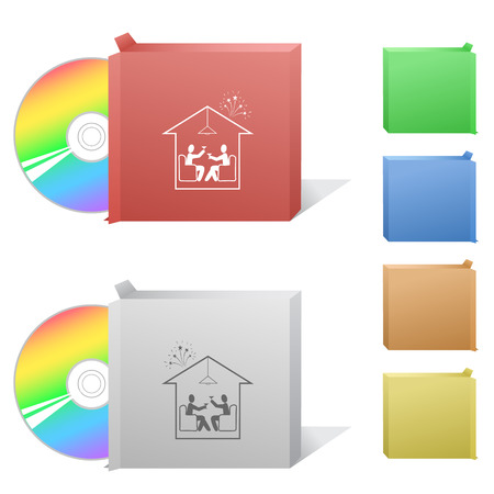 dvd room: Home celebration. Box with compact disc.
