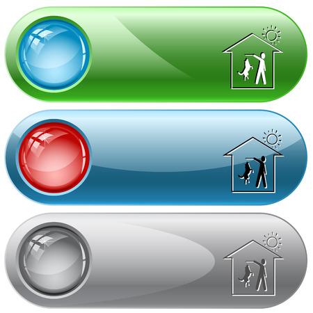 internet buttons: Home dog. Vector internet buttons. Illustration
