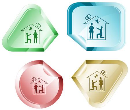 hamous: Home affiance. Vector sticker.
