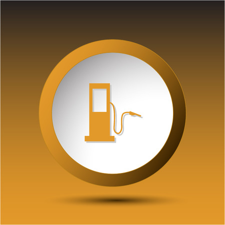 incurved: Fueling station. Plastic button. Vector illustration.