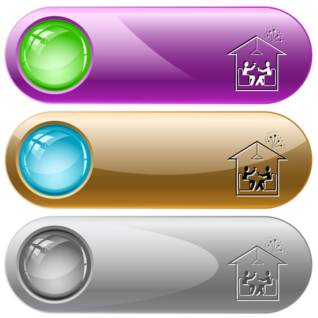 push room: Home celebration. Vector internet buttons.