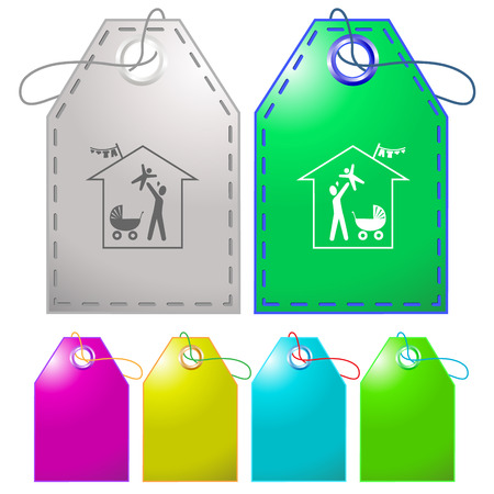 Family home. Vector tags. Vector