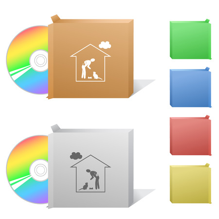 dvd room: Home cat. Box with compact disc. Illustration