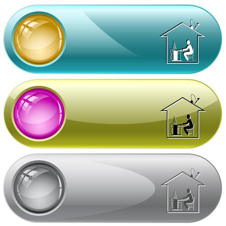 internet buttons: Home work. Vector internet buttons. Illustration