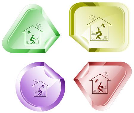 Home inspiration. Vector sticker. Illustration