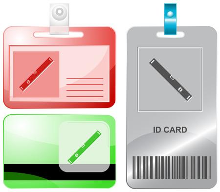spirit level: Spirit level. Vector id cards.