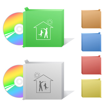 Home dog. Box with compact disc. Vector