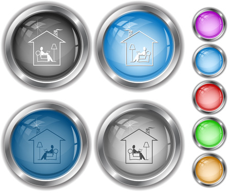 internet buttons: Home reading Internet buttons. Illustration