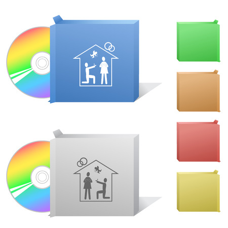 Home affiance  Box with compact disc  Vector