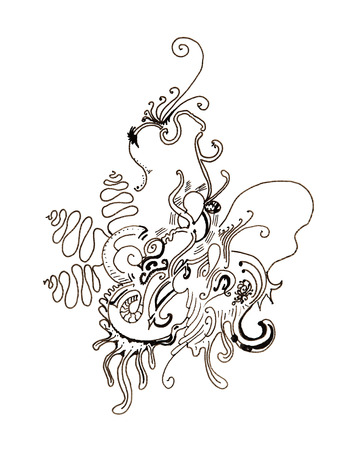 fanciful: Abstract drawing in white and black colors with fantastic design
