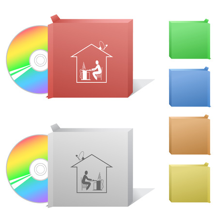 Home work. Box with compact disc. Vector