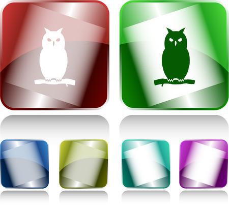 internet buttons: Owl. Internet buttons. Vector illustration.