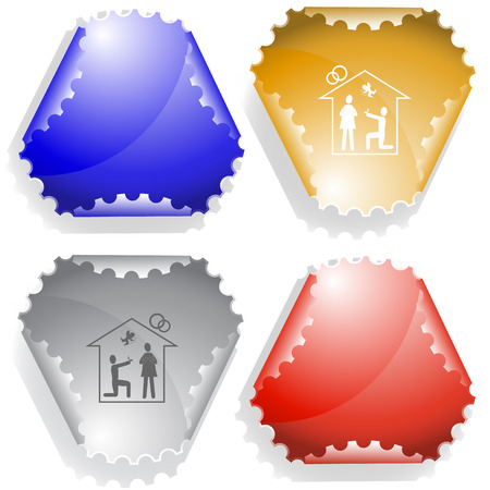 declinate: Home affiance  Vector sticker  Illustration