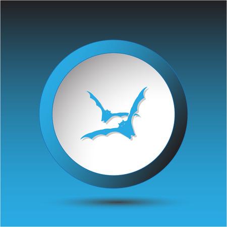 incurved: Bats  Plastic button  Vector illustration