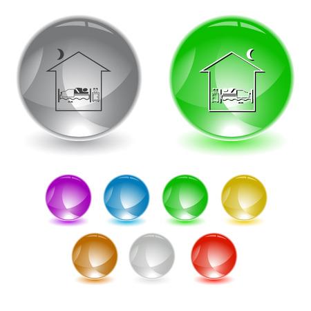 Home bedroom interface element. Vector