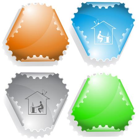 Home work sticker. Vector